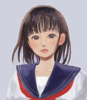 セーラー服を着た女子高生の無料アイコン