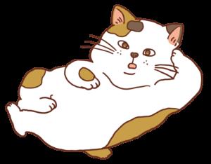 寝転がる三毛猫のイラスト