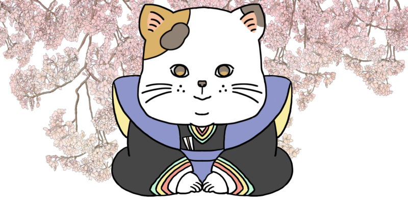 桜と猫の福助のイラスト