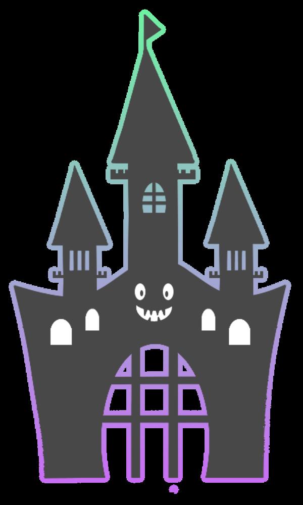 ハローウィン用幽霊屋敷フリーイラスト素材