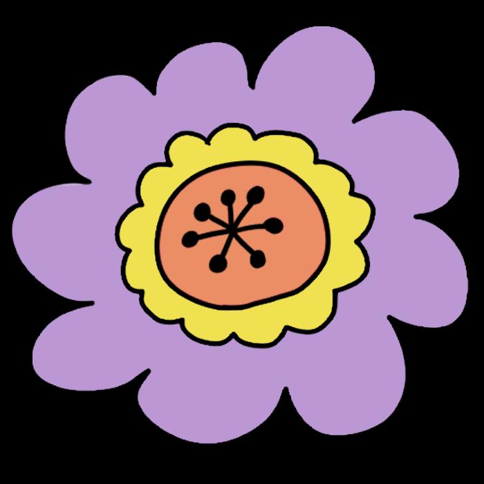 ポップな紫色のお花のイラスト