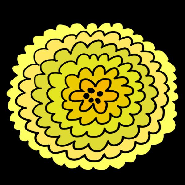 ポップな黄色グラデーションのお花のイラスト
