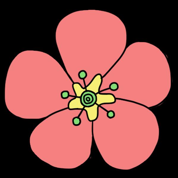 ピンクのお花の無料イラスト