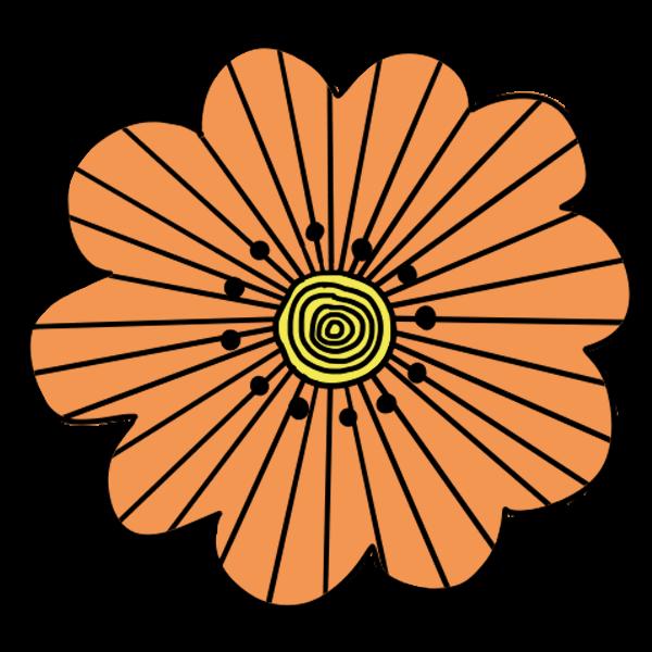 オレンジ色花のフリーイラスト素材