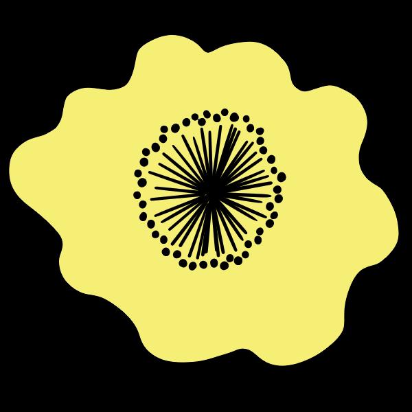 ポップな黄色の花の無料イラスト