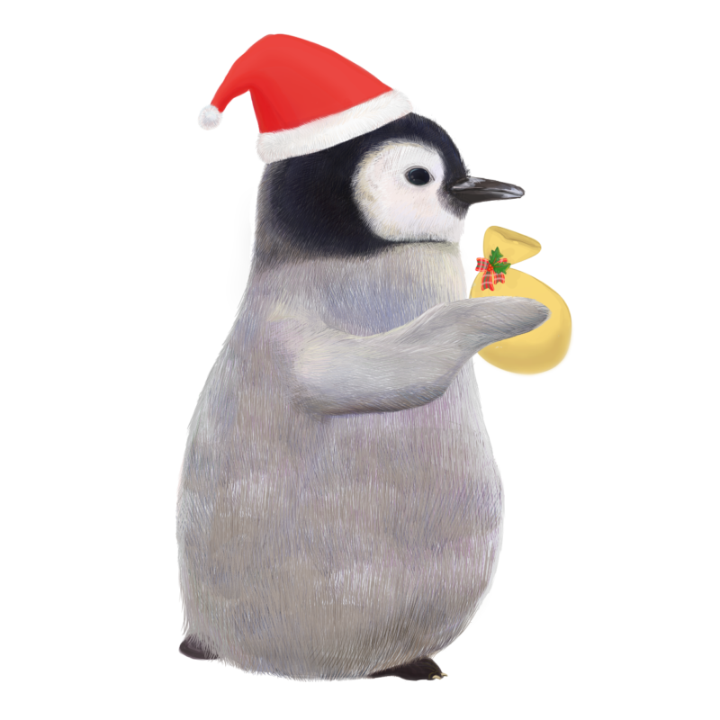 ペンギンサンタのフリーイラスト