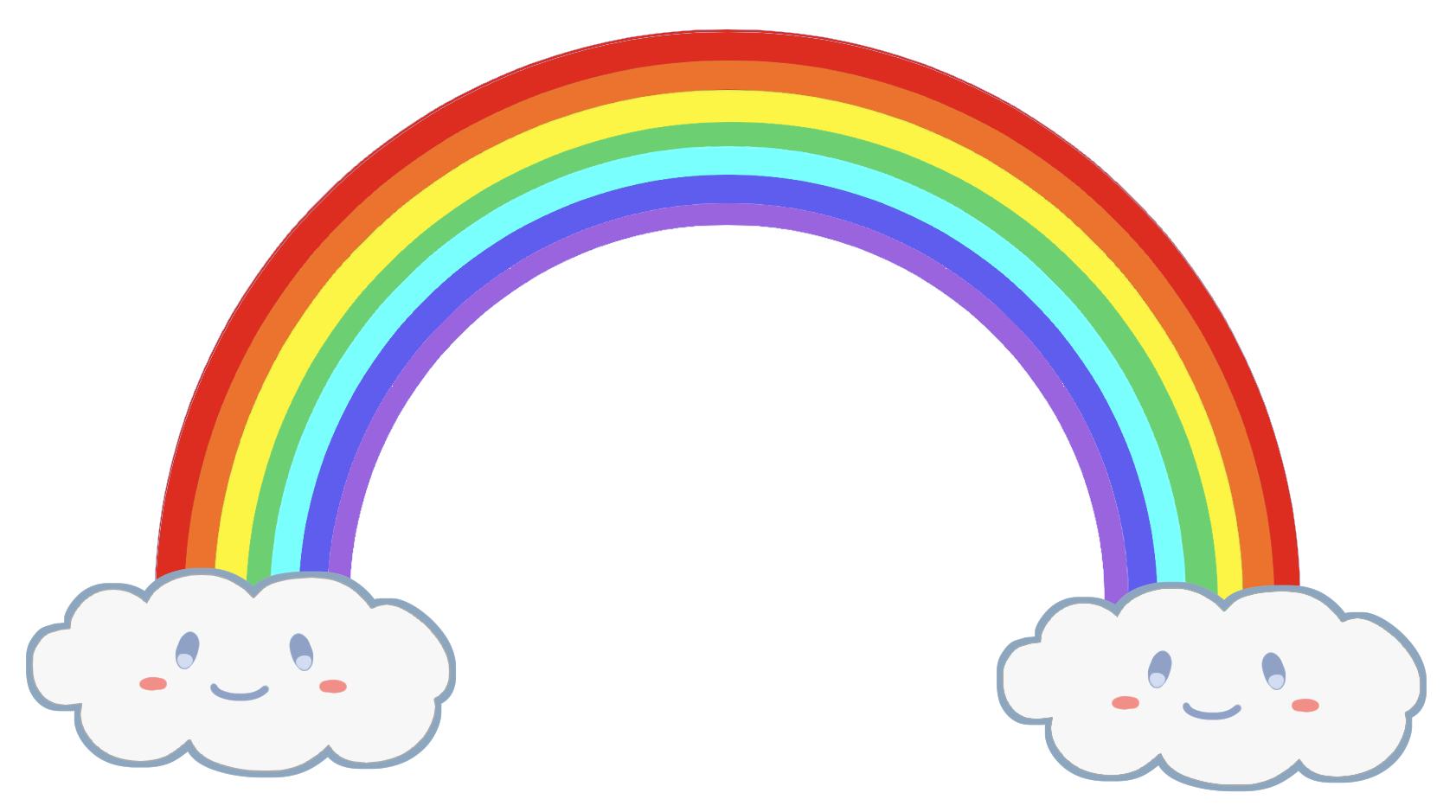 虹と顔つきの雲の無料イラスト素材です