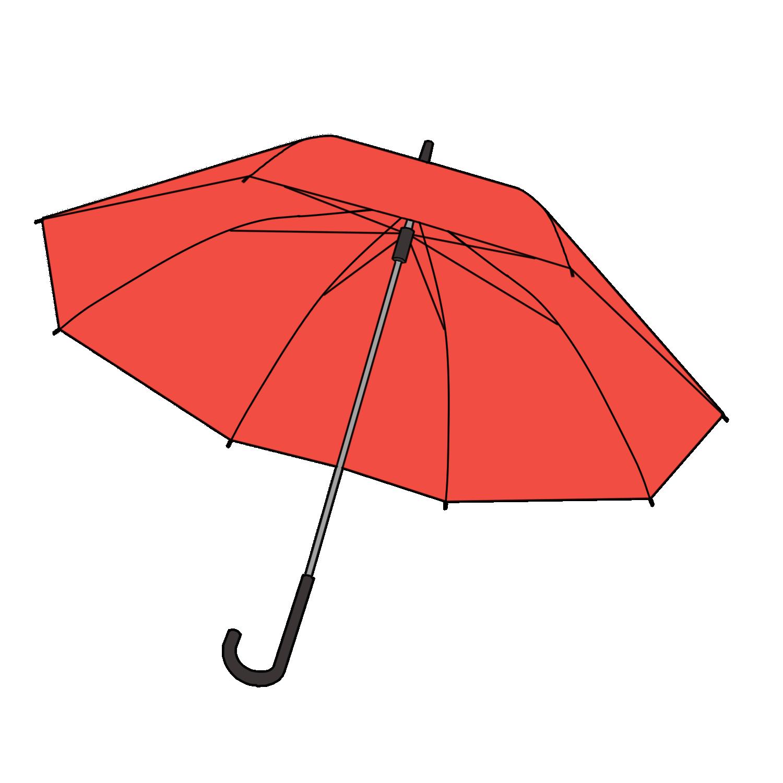 赤い傘の無料イラスト素材