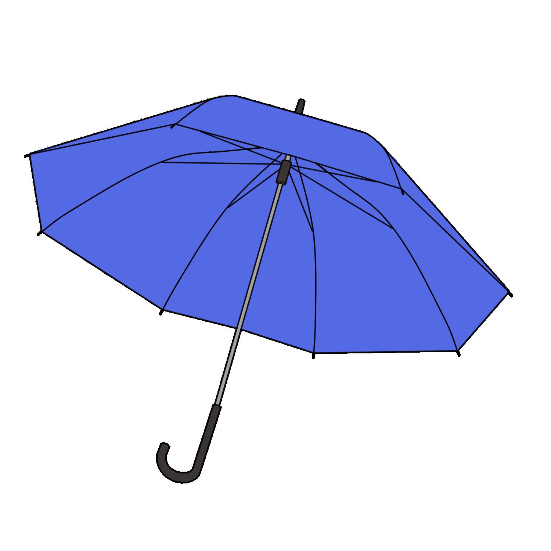 青い傘のフリーイラスト