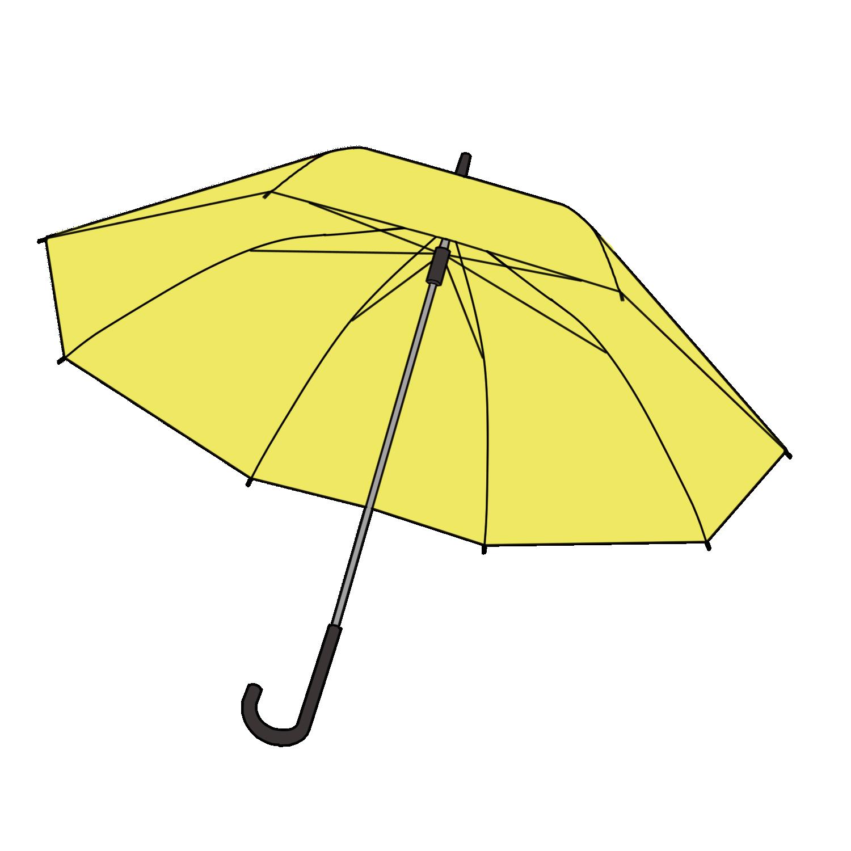 黄色の傘の無料イラスト素材
