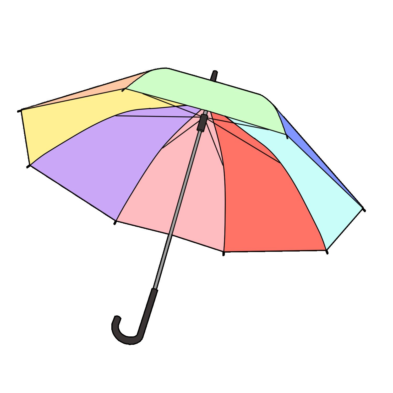 カラフルな傘のフリーイラスト