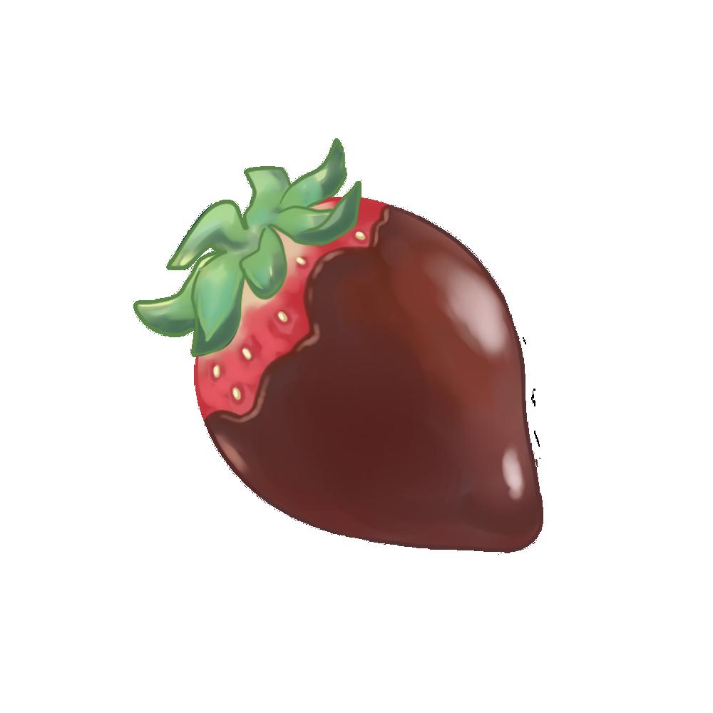 チョコレートかけ苺のフリーイラスト
