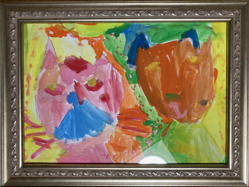 4歳の娘が描いた2匹の猫の水彩画イラスト